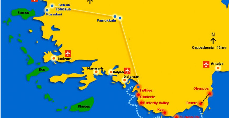 Semi Bus Travel From Fethiye To Selcuk Or Kusadasi